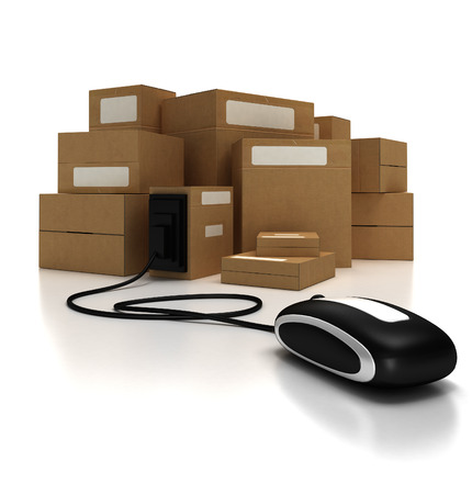 Heap of packages with a computer mouse photo