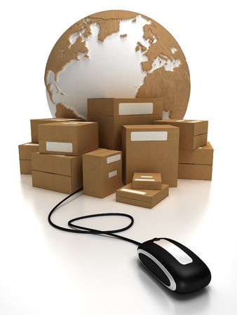 The world with a heap of packages connected to a mouse Stock Photo - 1719034