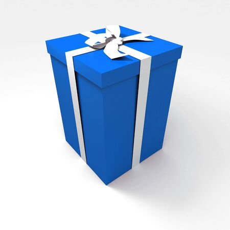 Big blue gift box with a white ribbon on a neutral background photo