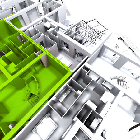 Apartment highlighted in green on a white architecture mockup on top of architect's plans Stock Photo - 1737592