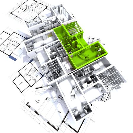 Apartment highlighted in green on a white architecture mockup on top of architect's plans Stock Photo - 1737594
