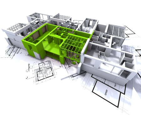 Apartment highlighted in green on a white architecture mockup on top of architect's plans Stock Photo - 1737590