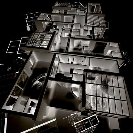 appartment: Negative image of an appartment mockup on top of architects blueprints Stock Photo