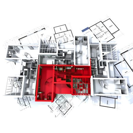 estate planning: Apartment highlighted in red on a white architecture mockup on top of architects plans Stock Photo