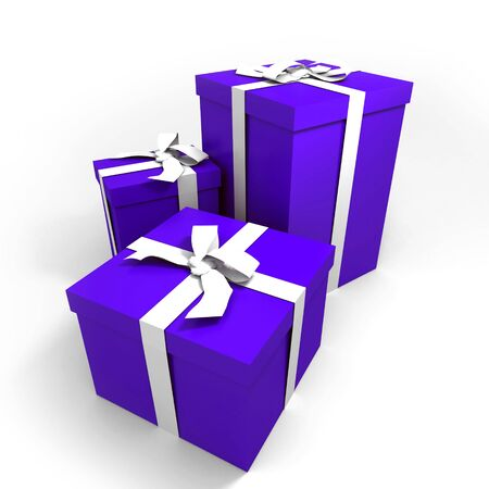 three Big blue gift boxes with a white ribbons on a neutral background photo