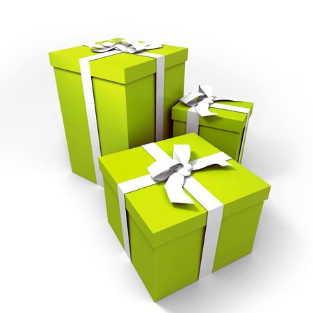 three Big green gift boxes with a white ribbons on a neutral background photo