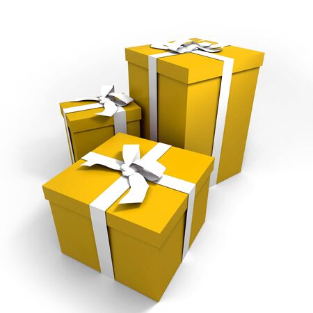 three Big yellow gift boxes with a white ribbons on a neutral background photo