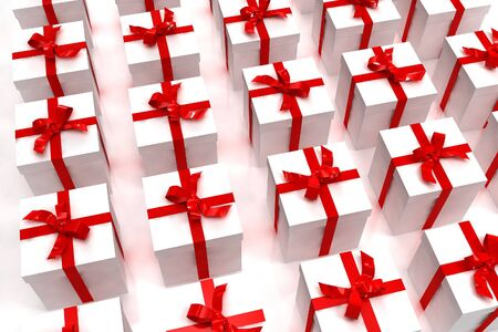 Background of white gift boxes with red ribbons neatly arranged photo