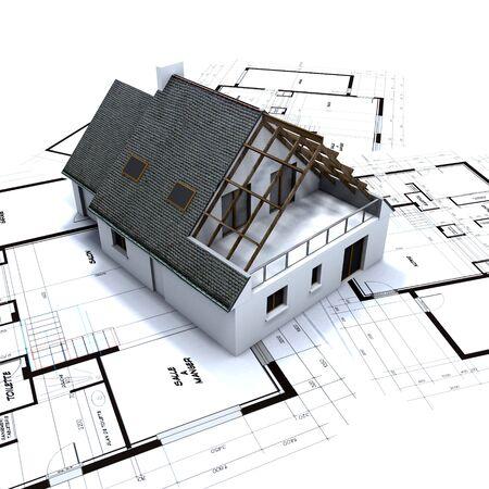 House mockup on architect's blueprints Stock Photo - 1779064