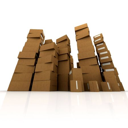 equilibrium: Huge piles of cardboard boxes in equilibrium Stock Photo