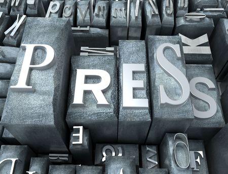western script: Press word written on tipescript letters Stock Photo