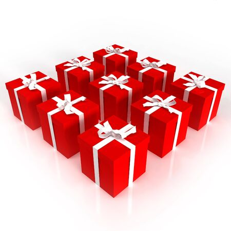 arranged: red gift boxes with white ribbons Stock Photo