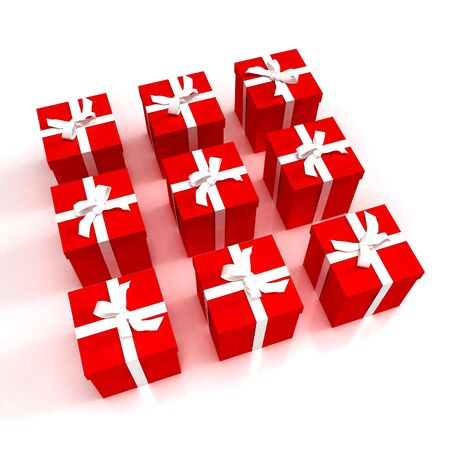 red gift boxes with white ribbons photo