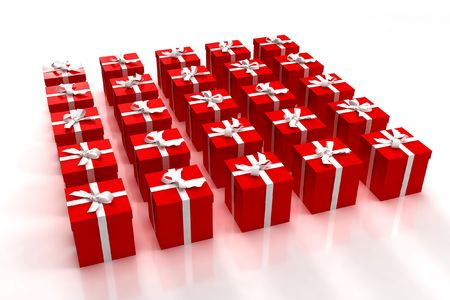 Neatly arranged red gift boxes with white bows photo