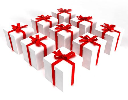 White gift boxes with red ribbons in a square formation photo