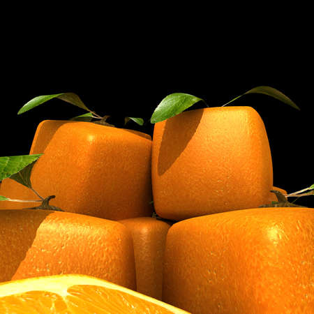 manipulated   alter: Heap of cubic oranges on black background