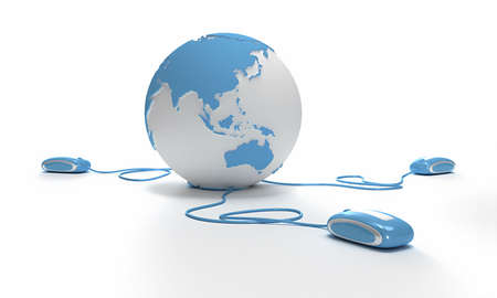 oriented: Blue and white Earth Globe oriented to Asia connected with three computer mouses. Stock Photo