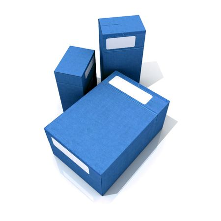 archival: Three blue cardboard boxes with white labels on a white background Stock Photo