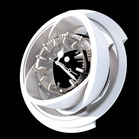 white three-dimensional clock on a black background Stock Photo - 1799364