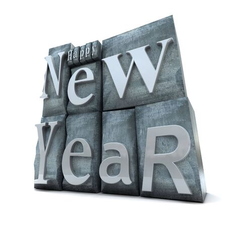 lithograph: Happy New Year written in blocks of letter prints Stock Photo