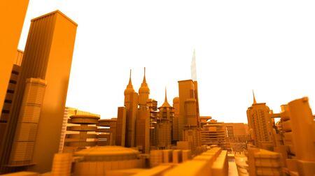 Orange futuristic city with a white sky Stock Photo - 1799366