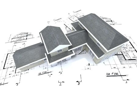 3D-rendering of a big expensive-looking house on top of architecture blueprints Stock Photo - 1904482