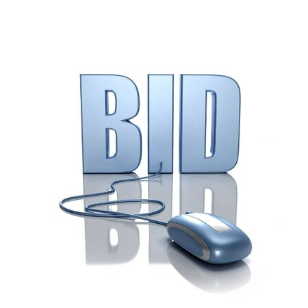 3D rendering of the word BID connected to a computer mouse Stock Photo - 1904475