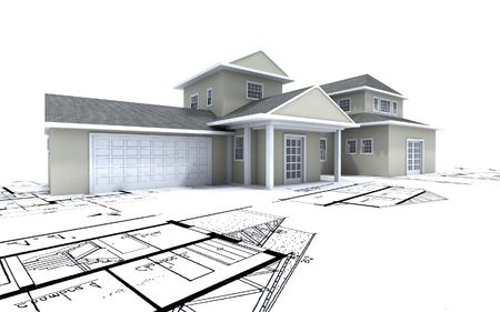 3D-rendering of a big expensive-looking house on top of architecture blueprints photo