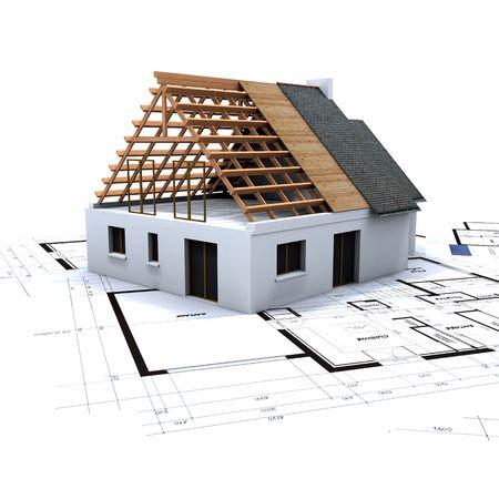 fachadas de casa: Casa en contruction proceso en la parte superior de planos del arquitecto  Foto de archivo