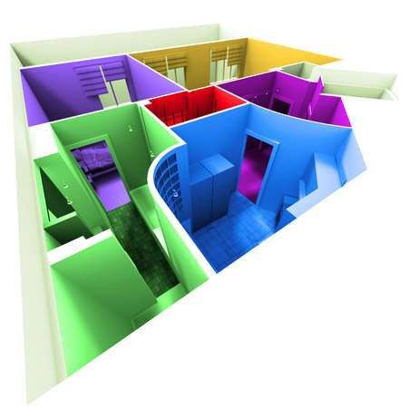 maquette: Aerial shot of 3D-rendering of a multicolored apartment Stock Photo