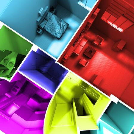 maquette: Aerial shot of 3D-rendering of a roofless apartment with rooms in different lively colors Stock Photo