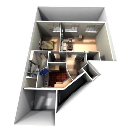 maquette: Aerial shot of 3D-rendering of a roofless apartment showing toilets, kitchen, bedroom, and livingroom