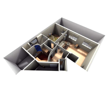focused: Aerial view of roofless apartment focused on kitchen, living room, toilet and bedroom Stock Photo