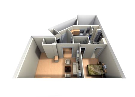 maquette: Aerial view of roofless apartment focused on living room and bedroom