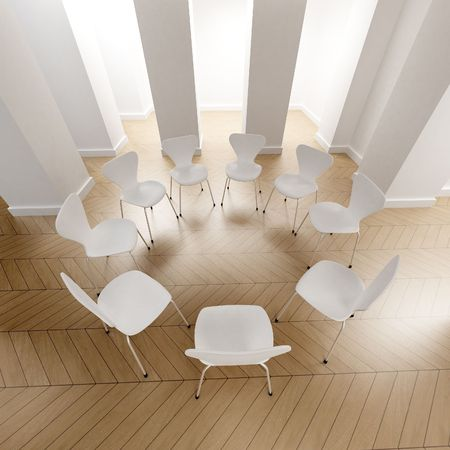 boardroom meeting: Big room with a circle of white chairs  Stock Photo