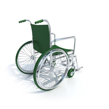 3D-rendering of a green wheelchair on a white background Stock Photo - 1952413