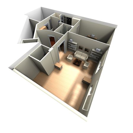 maquette: 3D rendering of home interior focused on living room