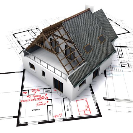 House mockup on top of blueprints with red pen notes and corrections Stock Photo - 1952411