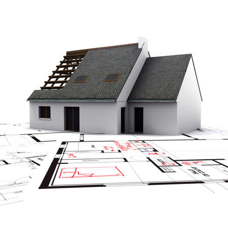 corrections: House mockup on top of blueprints with red pen notes and corrections