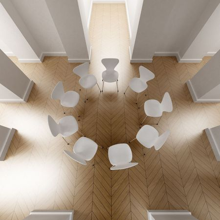 convention center: 3D-rendering of a room with a circle of nine white chairs Stock Photo