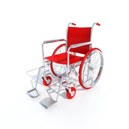 impairment: 3D-rendering of a red wheelchair on a white background