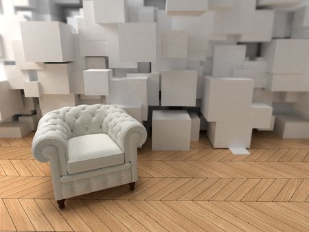 upholstered: White club armchair on a modern interior