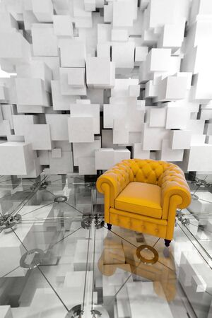 settee: Yellow leather club armchair on a very modern designers interior