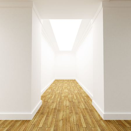 diminishing point: 3D rendering of a White corridor with parket floor with a dead end