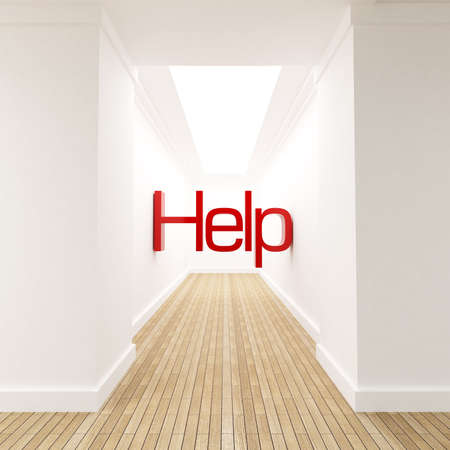 diminishing point: 3D rendering of the word help in red letters at the end of blind corridor Stock Photo