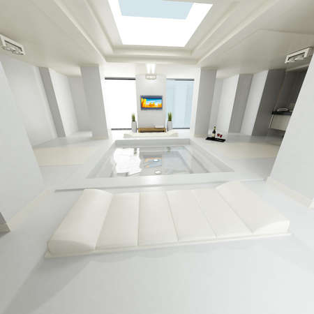 Huge luxurious bathroom with open ceiling, lcd tv monitor and other design and luxury features photo