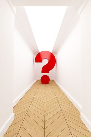 diminishing point: Red question mark at the end of a blind corridor Stock Photo