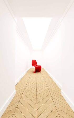 inaccessible: 3D rendering of a designer red plastic chair in a corridor with a dead end
