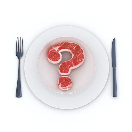 eating questions: Raw Beef steak in the shape of a question mark served in a plate