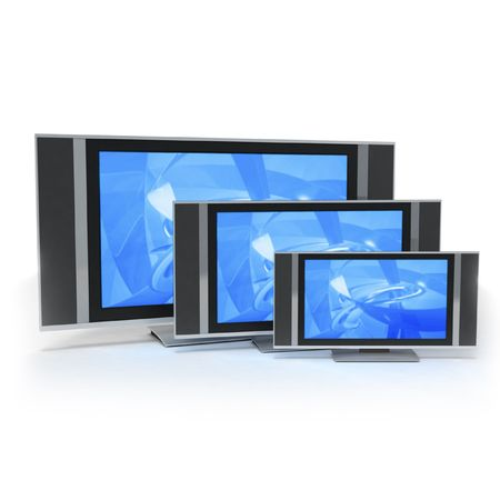 by the lcd screen: LCD screen TVs in 3 different sizes blue